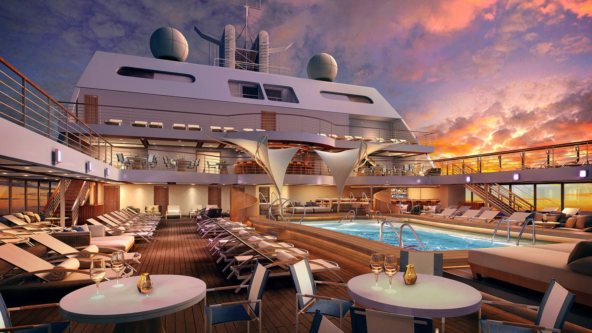 The deck of the Seabourn Ovation.