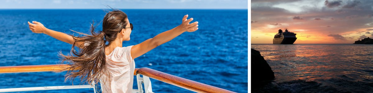 Girl on a cruise ship with arms wide open.