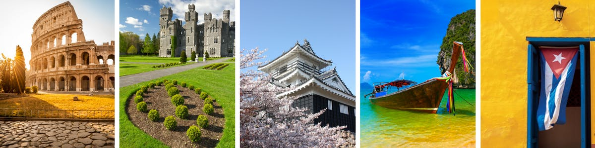 Collage of world-renowned places you can visit on a cruise.