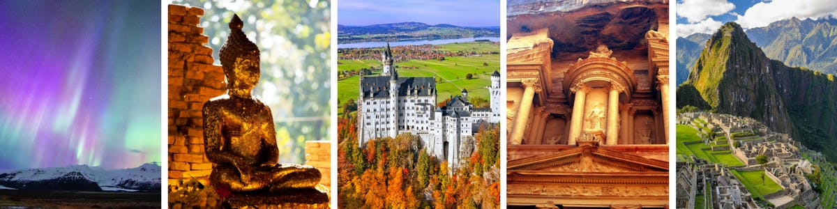 Collage of world-renowned places you can visit on a world cruise.