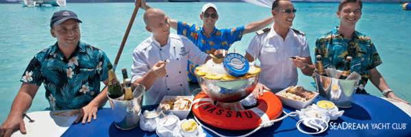 "SeaDream's famous ""Lunch in the Surf"" with waiters in the ocean."