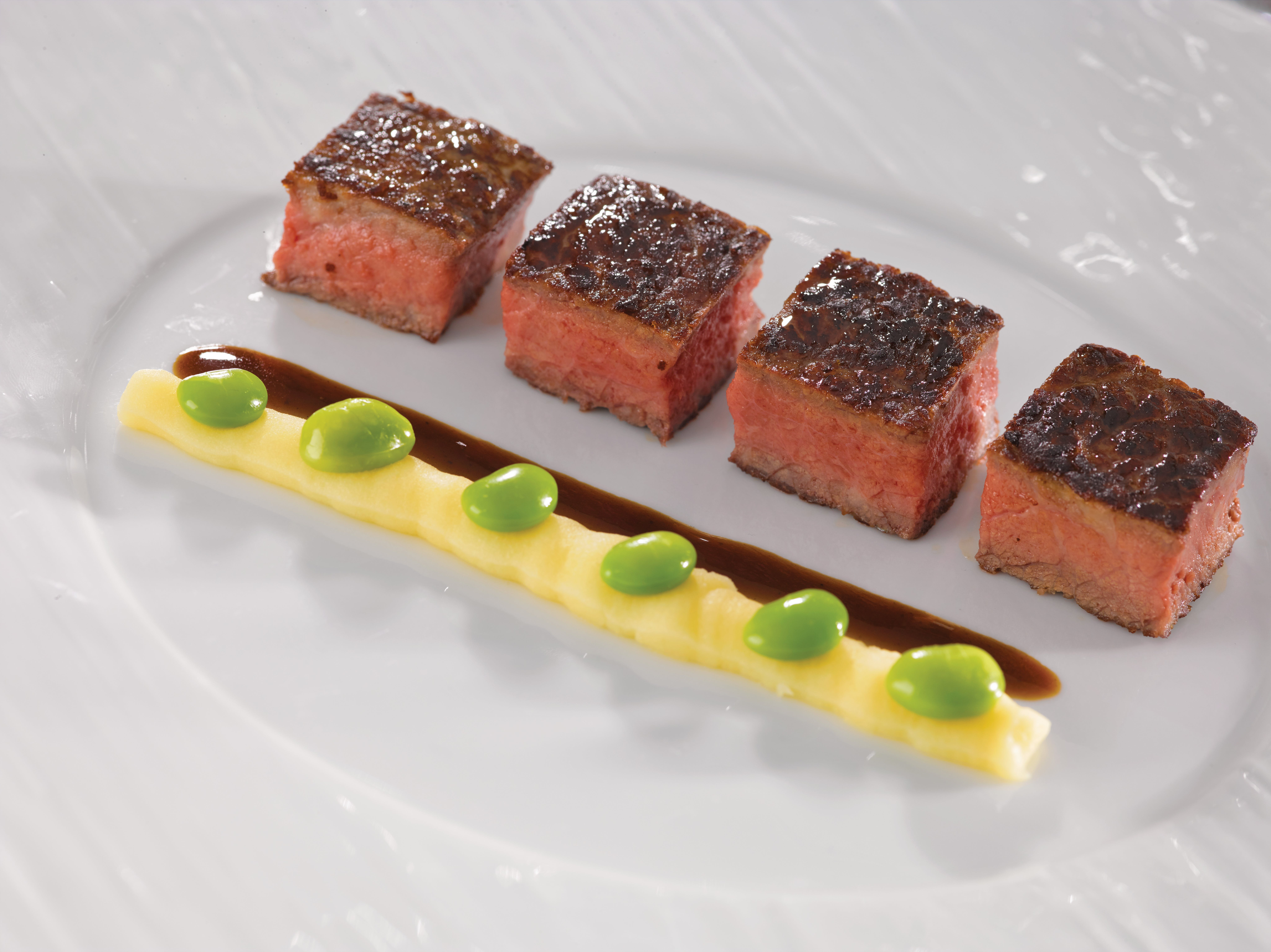 Seared Kobe Beef sous vide with Valrhona sauce at La Reserve on Oceania.