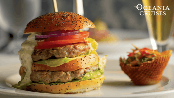 Black Angus Double Burger at Waves Grill - Oceania Cruises