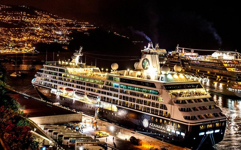 Azamara Docked in Madeira At Night