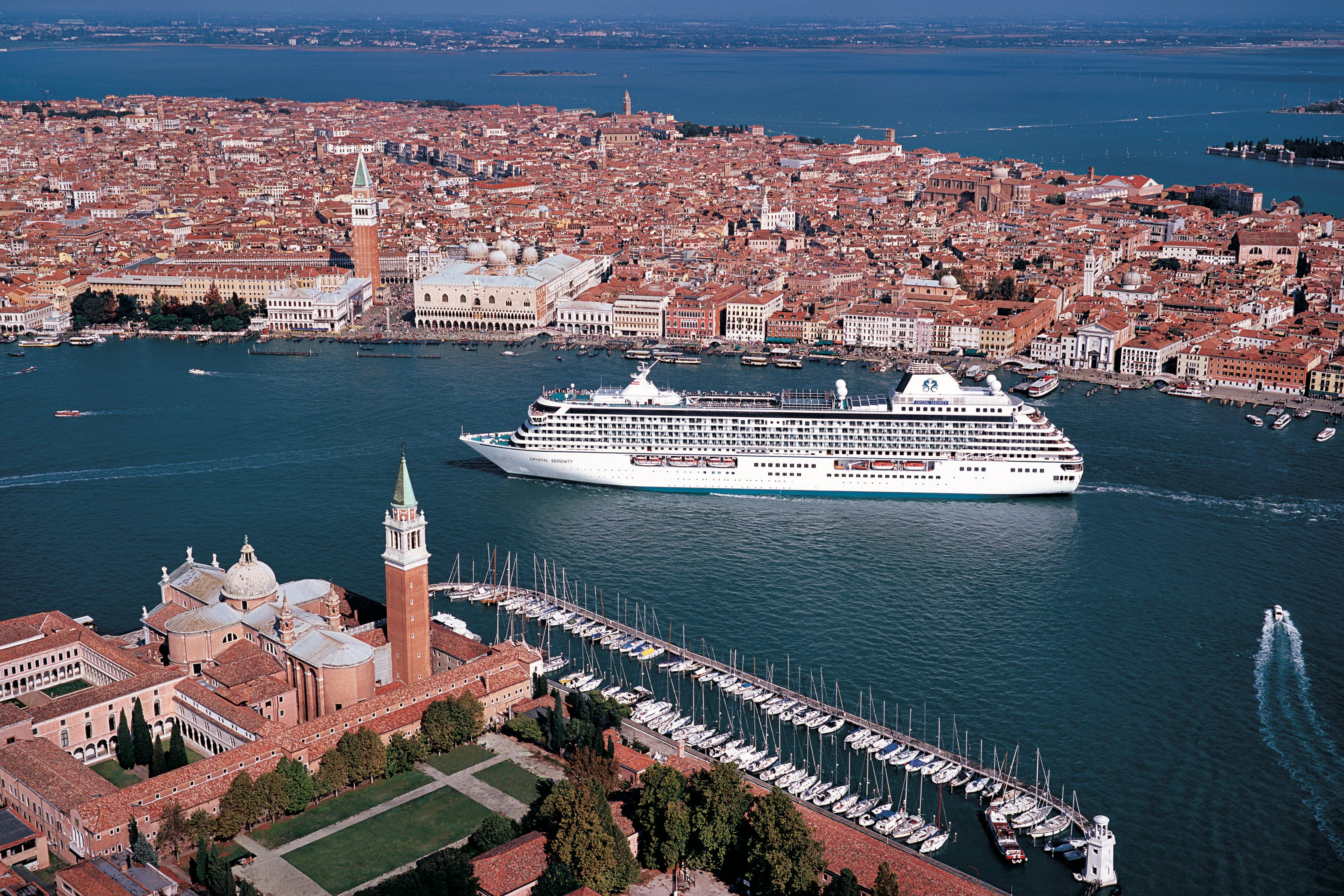 Crystal Cruises sailing through Venice, Italy.