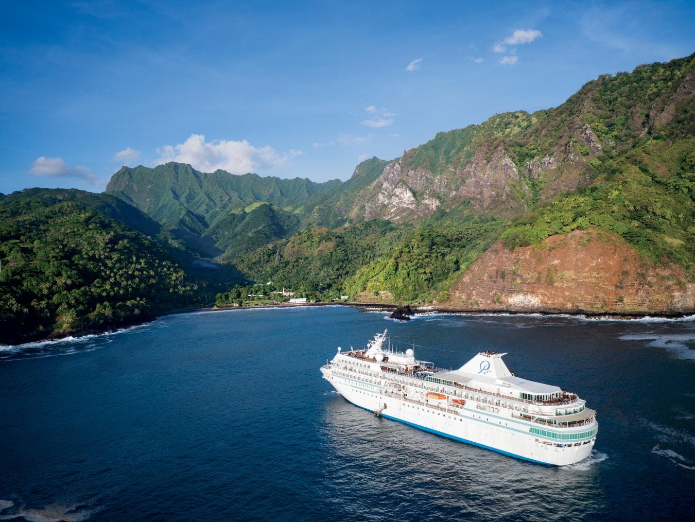 Paul Gauguin Cruises up close in the South Pacific.