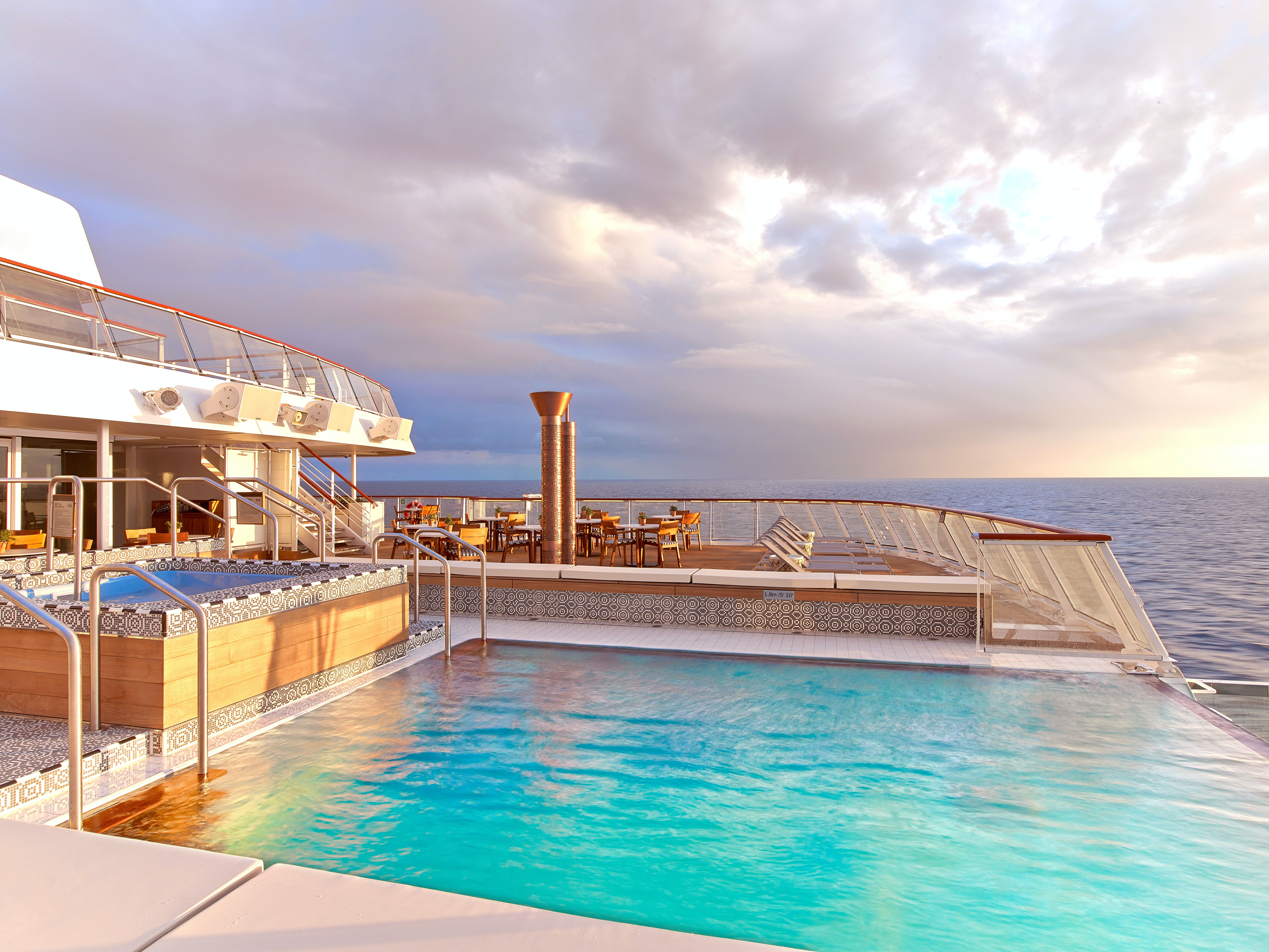 The sleek negative edge pool at the rear of every ocean ship boasts some of the best views on board.