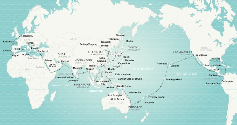 2021 Full World Cruise Itinerary