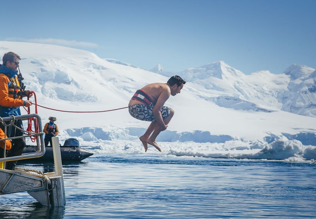 Guests enjoying the exhilirating polar plunge on a Quark Expedition