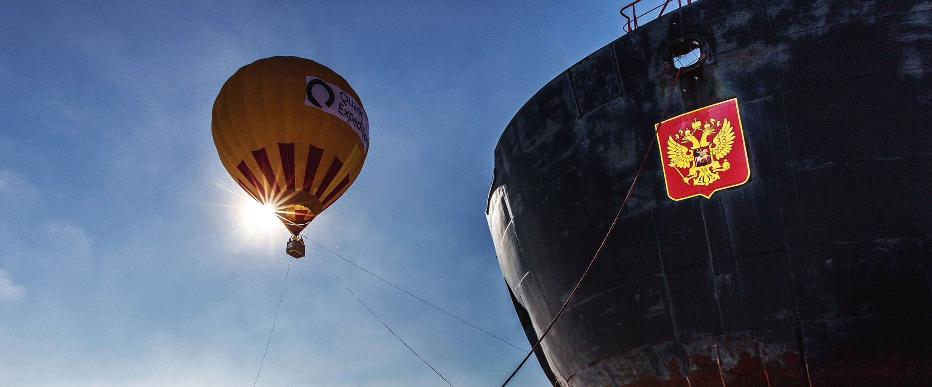 When weather permits, Quark takes you up for a breathtaking bird's eye view of 90° North in a hot-air balloon.
