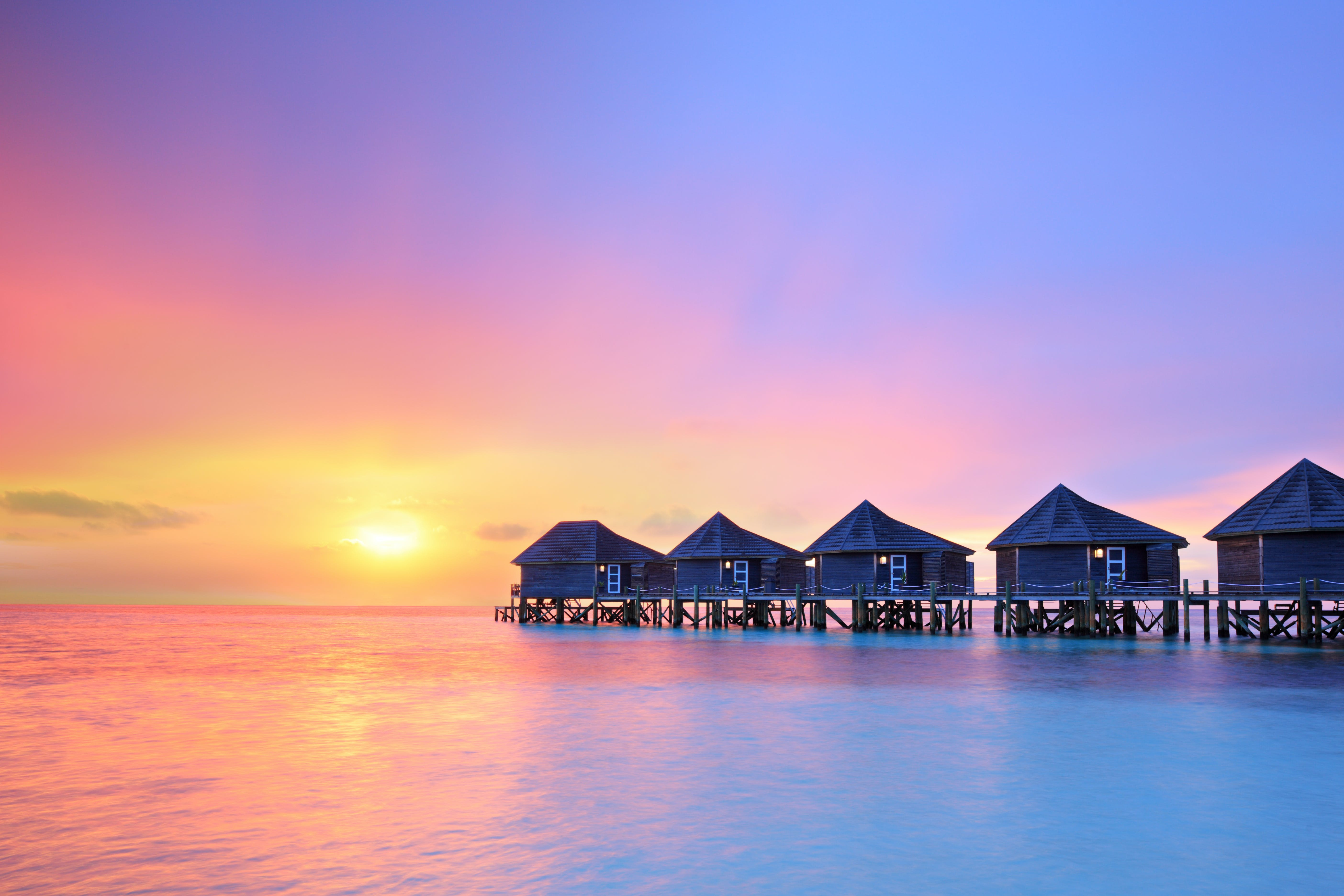 Sunset on Maldives island is a stunning site to behold.